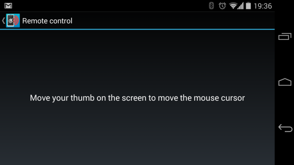 Screenshot of the touchpad plugin in Android